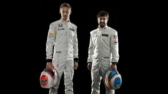 Button y Fernando Alonso/