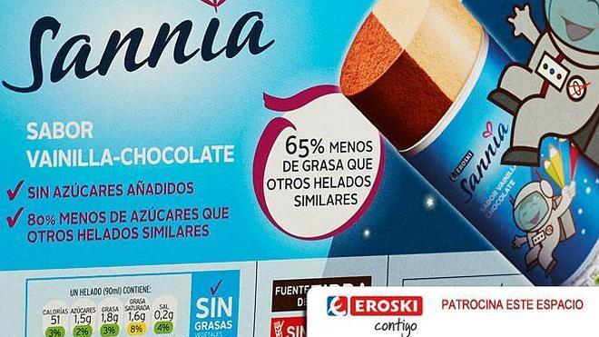 Helados Eroski Sannia: fuente de fibra sin azúcares añadidos ni grasas vegetales parcialmente hidrogenadas