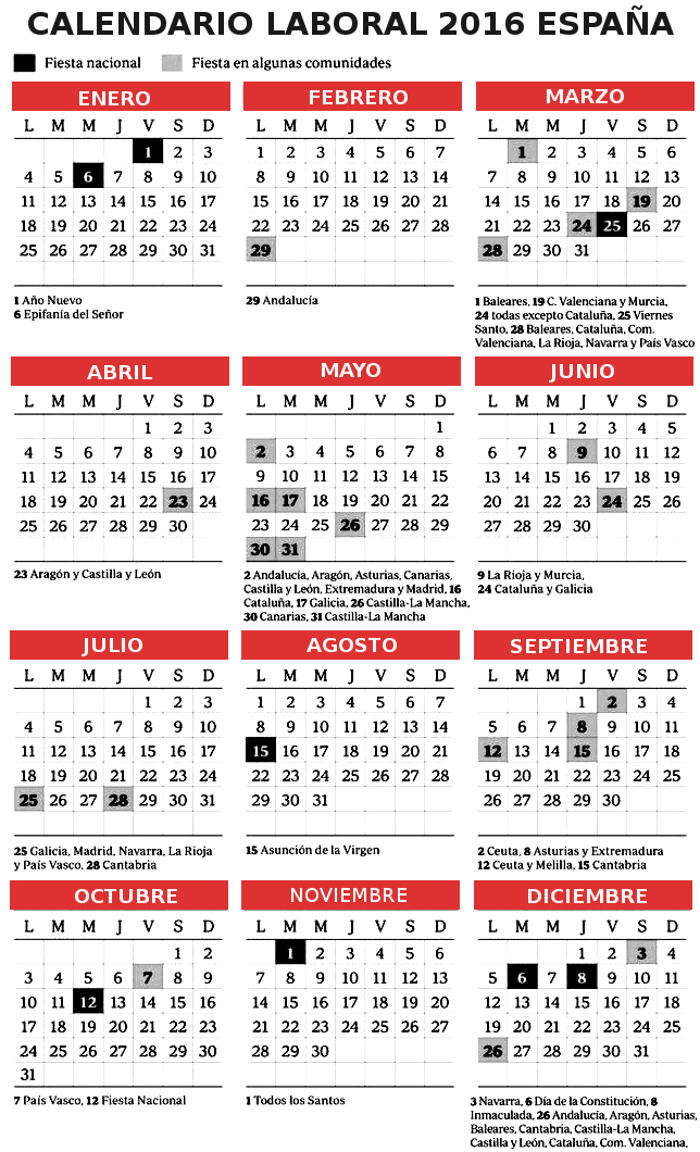 Calendario Laboral Espana.Calendario Laboral 2016 Espana Festivos El Correo