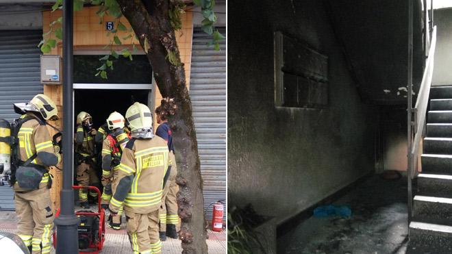 Un fuego al parecer intencionado en un portal intoxica a dos vecinos en Amorebieta