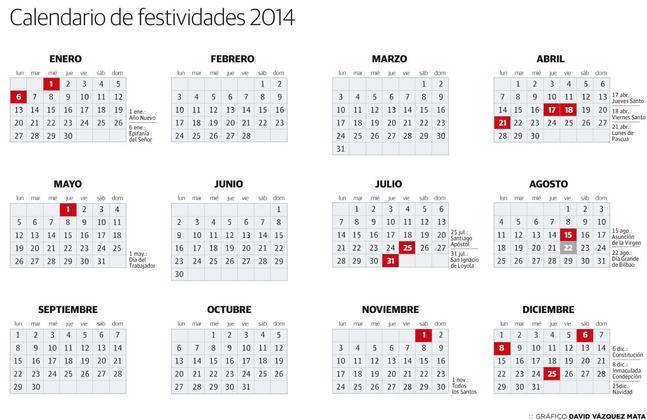 Calendario Laboral 2020 Bizkaia.Asi Queda El Calendario Laboral De 2014 En Bizkaia Tras
